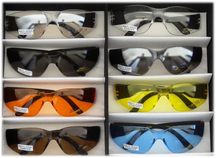 Box Set of all 8 Sport Eye wear Coloured Lenses easily converted into prescription sport glasses with a snap-in Astralon™Foil prescription insert to eliminate fit over sunglasses