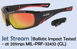 Ballistic sunglasses - Impact Tested at 201mps MIL-PRF-32432 (GL) Jet-Stream