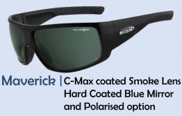 Polarised sunglasses in C-Max coated Smoke Lens, Hard Coated and Blue Mirror