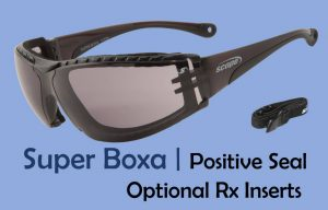 prescription motorcycle glasses with positive seal wind gasket